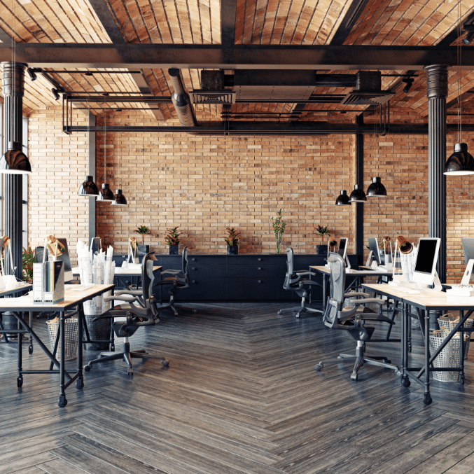 Modern office with brick walls and wooden dropped ceilings